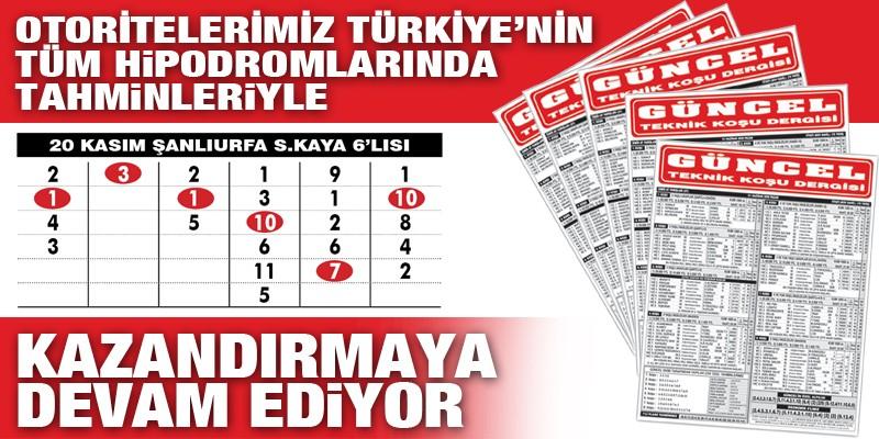 Gazeteniz Güncel 20 Kasım Salı günü Şanlıurfa 1. 6'lısını bularak okuyucularına 1.233,80 TL kazandırdı