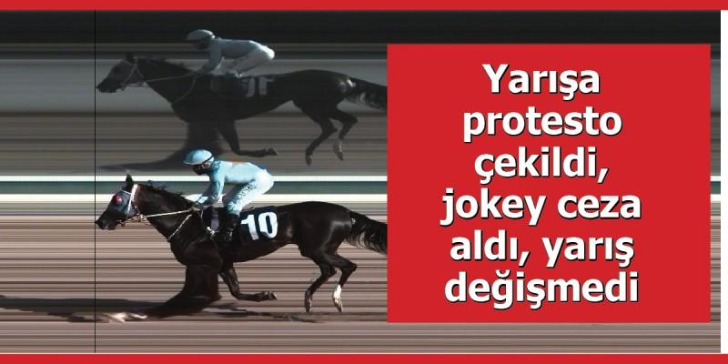 Yarışa protesto çekildi, jokey ceza aldı, yarış değişmedi