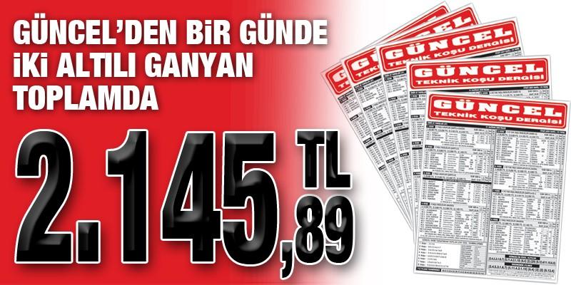 Gazeteniz GÜNCEL kazandırmaya devam ediyor. Bir günde iki 6'lı toplamda 2.145,89 TL