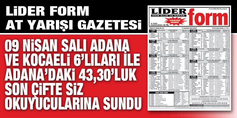 Lider Form'dan bir günde iki altılı toplamda 2.518,26 TL ve Adana'da son Çifte 43,30