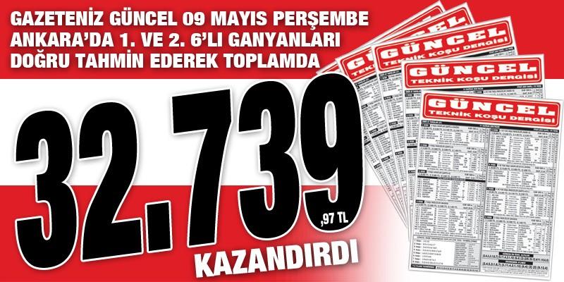 Gazeteniz Güncel Perşembe Ankara 6'lı Ganyanını Bularak Yine Kazandırdı.