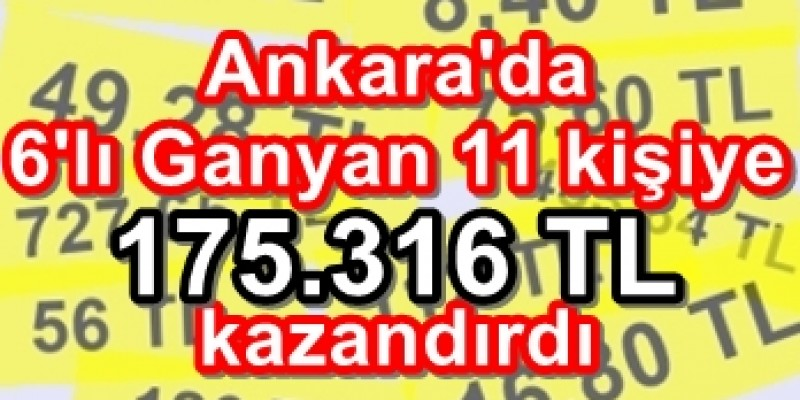 Ankara'da 6'lı Ganyan Küçük Paralara Servet Dağıtmaya Devam Ediyor. 8.40 TL,  175.316 TL Kazandırdı