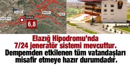 Elazığ Hipodromunda Jenaratör ve ısıtma sistemleri 7/24  var Depremden etkilenen vatandaşlarına TJK kapılarını  açtı