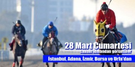 28 Mart Cumartesi sabahı İstanbul, İzmir, Adana, Bursa ve Şanlıurfa Hipodromlarından idman görüntüleri