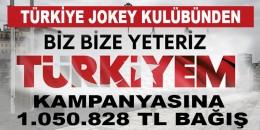 """Türkiye Jokey Kulübü'nden """"Biz Bize Yeteriz Türkiyem"""" kampanyasına 1.050.828 TL bağış"""