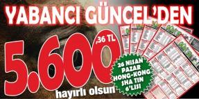 Hong Kong Sha Tin yarışlarında gazeteniz Yabancı Güncel'den 5.600,36 TL hayırlı olsun