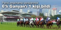ParisLongchamp yarışlarında 2. 6'lı Ganyan'ı 1 kişi bilerek 159.005.67 TL kazandı