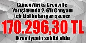 Güney Afrika Greyville'de 2.6'lı Ganyan'ı 1 kişi bilerek 170.296,30 TL'nin sahibi oldu