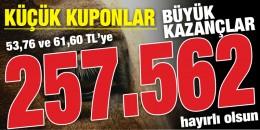Bursa'da 6'lı Ganyan 53,76 ve 61,60 TL'lik kuponlarla 257,562 TL kazandırdı