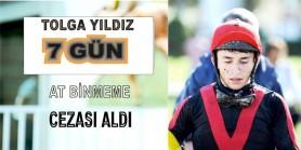 Jokey Tolga Yıldız safkana 7 kırbaç vurdu 7gün at binmeme cezası aldı yarışıda dördüncü bitirdi