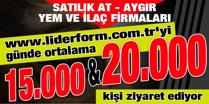 Satılık At, Aygır, Yem ve İlaç Firmaları www.liderform.com.tr'yi günde ortalama 15.000 ile 20.000 kişi ziyaret ediyor