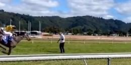 Dünyada At Yarışlarında safkanlar koşarken bir ilk yaşandı şahıs tutuklandı, yeni açıdan görüntüler geldi