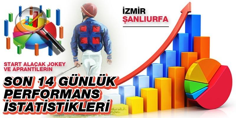 21 Ocak Perşembe günü Şanlıurfa ve İzmir'de start alacak jokey ve aprantilerin son 14 günlük performans istatistikleri