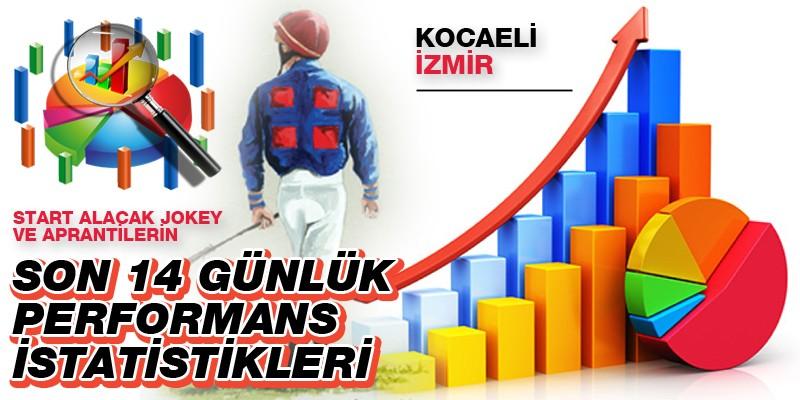 22 Ocak Cuma günü Kocaeli ve İzmir'de start alacak jokey ve aprantilerin son 14 günlük performans istatistikleri