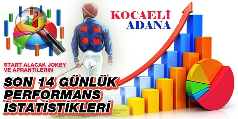 23 Şubat Salı günü Kocaeli ve Adana'da start alacak jokey ve aprantilerin son 14 günlük performans istatistikleri