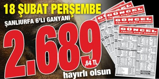 Gazeteniz GÜNCEL Perşembe Şanlıurfa'da 2.689,64 TL veren 6'lı ganyanı 3. ayaktaki 20.55'lik favori verdiği safkanla doğru tahmin ederek okuyucularına tekrar kazandırmanın mutluluğunu yaşıyor