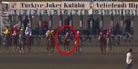 Start çıkışinda %51AGF(1) atın jokeyi düştü. Atın başına kırbaç ile vurdu sıralama değişti.