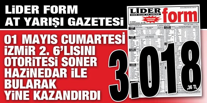 Lider Form Gazeteniz Cumartesi İzmir 2. 6'lı ganyanını doğru tahmin ederez siz takipçilerine 3.018,36 TL kazandırdı
