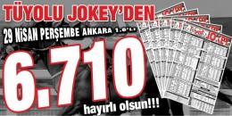 Tüyolu Jokey Perşembe Ankara 1. 6'lı ganyanını doğru tahmin ederek okuyucularına 6.710,25 TL kazandırdı. Hayırlı Olsun!!!