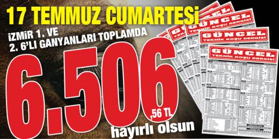 Gazeteniz GÜNCEL Cumartesi İzmir 6'lılarını da boş geçmeyerek  okuyucularına toplamda 6.506,56 TL kazandırdı