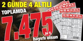 Gazeteniz GÜNCEL Cuma ve Cumartesi 6'lılarını da boş geçmeyerek iki günde okuyucularına toplamda 7.475,84 TL kazandırdı