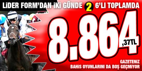 Lider Form Pazartesi Bursa'da 1. 6'lısından sonra Salı Kocaeli 2. 6'lısını da boş geçmeyerek okuyucularına 8.864,37 TL kazandırdı