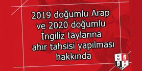 2021 yılı idman tayları ahır ilanı hakkında duyuru