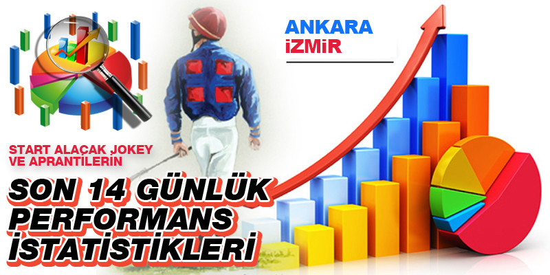14 Ekim Perşembe günü Ankara ve İzmir'de start alacak jokey ve aprantilerin son 14 günlük performans istatistikleri