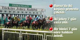 Bursa'da iki koşuya protesto çekildi. İki jokey 7 gün ceza aldı. Bir binici 7 gün süre hakkını istedi.